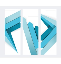 Set of abstract paper banners with blue arrows vector image vector image