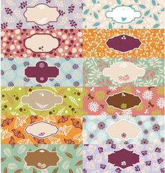 Set of cute floral banners vector