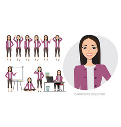 Set of emotions for asian business woman vector