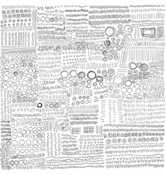 set of line hand drawn textures doodle style vector image