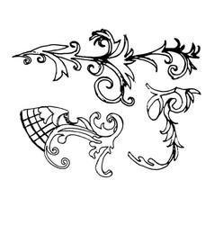 set sketch of a baroque ornament vector image