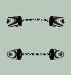 Set sports logos barbell bodybuilding and vector image
