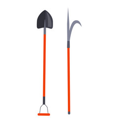 Shovel and other long thing for firefighting set vector