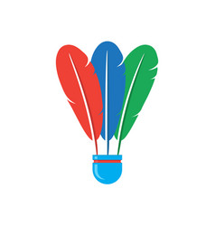 Shuttlecock icon with colorful feathers isolated vector