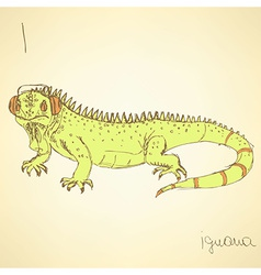 Sketch fancy iguana in vintage style vector image