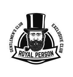 smokers club gentleman head with smoking pipe vector image