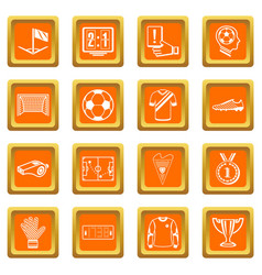 Soccer football icons set orange square vector