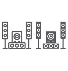 sound system line and glyph icon audio and stereo vector image