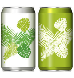 two aluminum can design with green leaves vector image