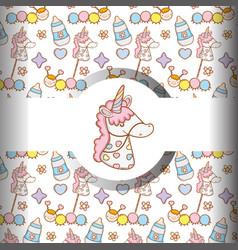 Unicorn with feedin bottle and bathings vector