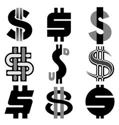 US dollar icon set vector image