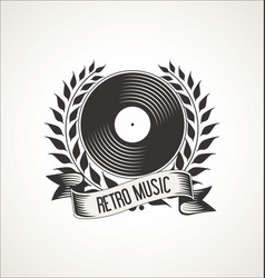 Vinyl record retro vintage laurel wreath badge vector