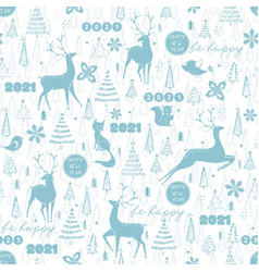 winter seamless pattern with deer fox squirrel vector image