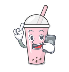 with phone raspberry bubble tea character cartoon vector image