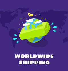 worldwide shipping fast delivery vector image