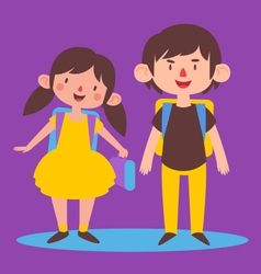Cute Siblings Ready to go Back to School vector image