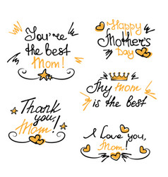 happy mothers day hand lettering stickers vector image vector image