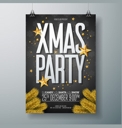 merry christmas party flyer vector image vector image