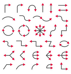 arrows collection with bicolor style vector image vector image