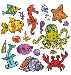Cartoon Funny Fish Sea Life Colored Doodle set vector image vector image