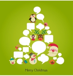 Christmas tree with cute speech bubbles vector image vector image