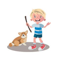 little boy dog friend cartoon vector image vector image