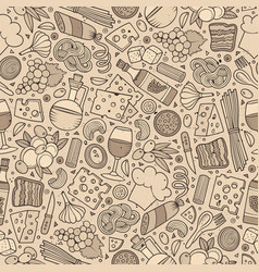 Cartoon cute hand drawn italian food seamless vector