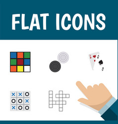 flat icon games set of chequer ace xo and other vector image vector image