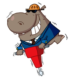 Hippo Worker Operating A Vibrating Jackhammer vector image