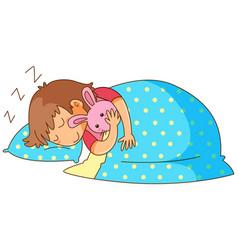 Little girl sleeping with bunny doll vector