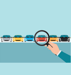 magnifying glass in human hand with car vector image vector image
