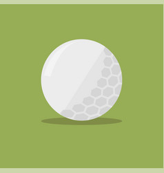golf ball flat icon with shadow on green vector image