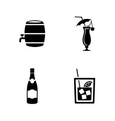 Wine simple related icons vector