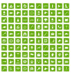 100 dog icons set grunge green vector image
