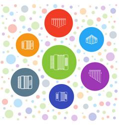 7 harmonica icons vector