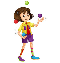 a girl juggling ball vector image