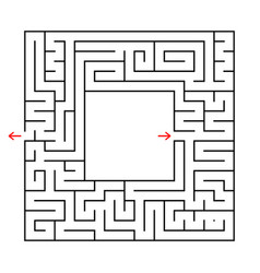 a square labyrinth find the way out from the vector image