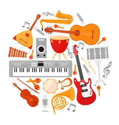 acoustic and electronic music instruments flat vector image
