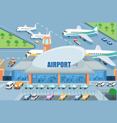 Airport on the outside vector