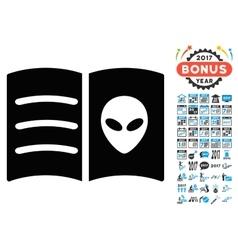 Alien Face Book Icon with 2017 Year Bonus Symbols vector
