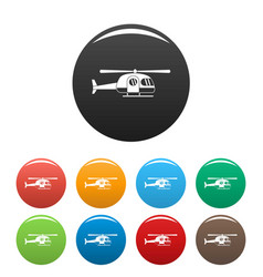 ambulance helicopter icons set color vector image
