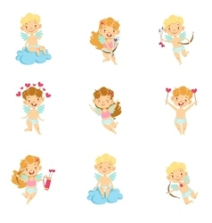 Baby Cupids With Bows Arrows And Hearts Set vector
