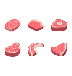 beef steak raw meat food red fresh cut butcher vector image