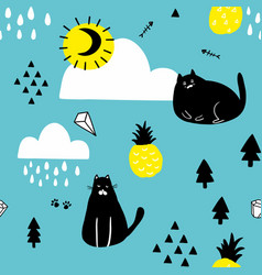 black cats in the blue sky seamless wallpaper vector image