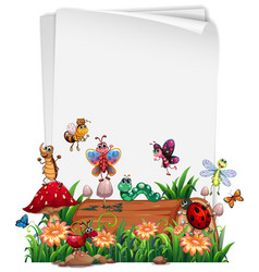 Blank paper with animal garden set isolated vector
