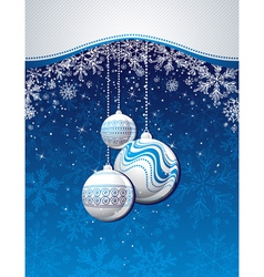 blue christmas background with golden balls vector image