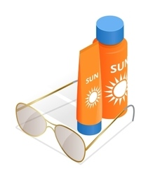Bottles of sunscreen lotion and sunglasses Tube vector