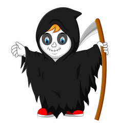 boy wearing grim reaper costume with scythe vector image