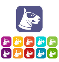 Bull terrier dog icons set vector
