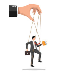 businessman marionette is hanging on ropes vector image